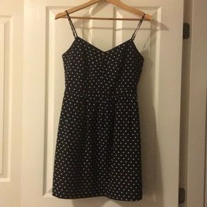 Black polka-dot dress